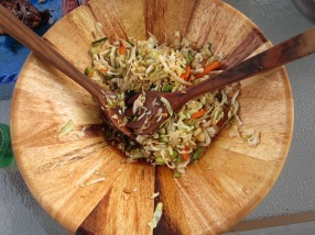 homemade cabbage and bok choy slaw with rice vinegar and soy dressing